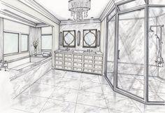 이미지: 실내 Perspective Sketch, Interior Sketch, Interior Design, Conceptual Design, Light Architecture, Spa Day, Sparkle, Antiques, Drawings