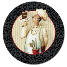 CounterArt Chef's Masterpiece Lazy Susan Glass Serving Plate for sale online Dining Plates, Serving Plates, Chef Kitchen Decor, Foto Transfer, Le Chef, Decoupage Paper, Lazy Susan, Illustration Art, Creations