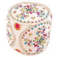 bohemian home decor embroidered pouf ottoman