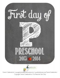 """Free """"First Day of School"""" Printable Signs: Preschool - 6th Grade.  Better hold on to this @Jaime Young"""