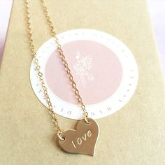 Personalized hand stamped heart pendant necklace by Classy Mama Designs.   www.classymamadesigns.com  #love #jewelry #personalized