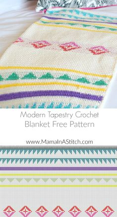 Free crochet pattern: Modern Camp Tapestry Crochet Blanket by Mama in a Stitch