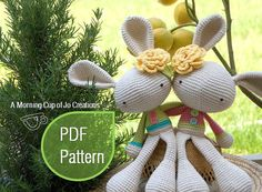 **THIS IS A CROCHET PATTERN, NOT THE FINISHED ANIMAL** **Only featured in English with U.S. crochet terms.**  ABOUT THE DESIGN: These adorable Spring bunnies spread smiles and sunshine wherever they go! Their tilted ears and floppy legs capture the hearts of those who meet them -- and they LOVE meeting new people. If youre looking to crochet a super cute gift for someone special (which includes yourself!), this pattern is perfect for you! ABOUT THE PATTERN: Youll get 13 pages with tons of…