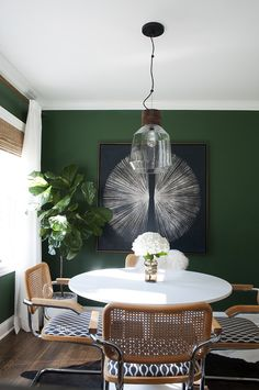 Green dining room with tulip table and large scale art - Room for Tuesday