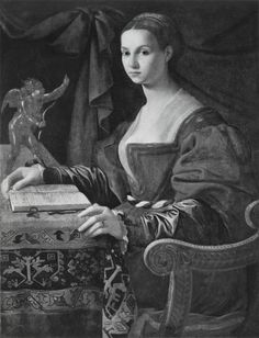 photo jacopinodelconte1530sdonnaconlibro - Ritratto di donna con libro e bronzetto Del Conte Jacopino dipinto Collezione Earl of Wemyss and March 1530 - 1599 .jpg
