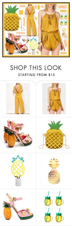 """""""Pineapple Crush"""" by beanpod ❤ liked on Polyvore featuring Dolce&Gabbana, Sunnylife and Amici Home"""