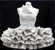Phone Book Dress. I wonder how long it took to fold all those phone book pages?
