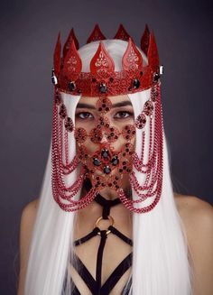 Red Mask, Black Mask, Best Costume Ever, Black Tiara, King Costume, Red Sapphire, Metal Crown, Face M, Aesthetic People