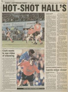 Portsmouth 2 Nottm Forest 1 in March 1994 at Fratton Park. A newspaper report on the game #Div1