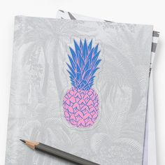 'Pink Pineapple' Sticker by Drugaya Plastic Stickers, Personalized Water Bottles, Transparent Stickers, Glossier Stickers, Sell Your Art, Sticker Design, Pineapple, My Arts, Art Prints