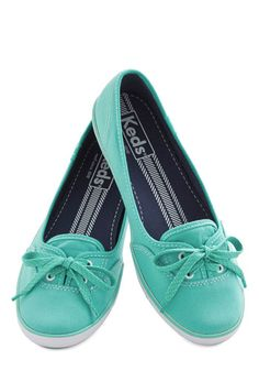 Coast of All Flat in Mint by Keds - Flat, Woven, Mint, Solid, Casual, Better, Lace Up, Variation