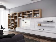 white-entertainment-wall-unit-with-built-in-shelf-design-beside-cube-bookcase : Super Cool Interior Ideas Living Room Wall Units, Living Room Modern, Living Area, Design Parquet, Entertainment Wall Units, Entertainment Furniture, Modern Apartment Design, Muebles Living, Built Ins