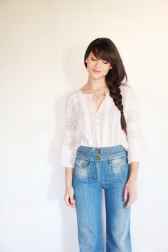 white gauzy lace peasant blouse with vintage high-waisted bell bottom jeans