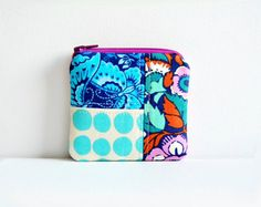 Mini Coin Purse, Zipper Change Pouch, Zip Wallet, Patchwork, Amy Butler Fabrics