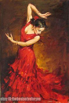 Original Classical Gypsy Flamenco Dancer Red Dress Art Oil Painting Wall Decor