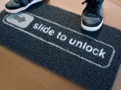 Just how geeky is this? the slide to unlock doormat for iphone lovers comes with the famous inscription inspired by iPhone Slide to Unlock, nothing better to place in front of your geeky office door. If you slide your foot across the doormat, it wi Cool Doormats, Funny Doormats, Ideas Geniales, Geek Out, Welcome Mats, Home Accessories, Nerdy, Furniture Design, Geek Stuff