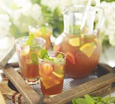 Pimm's iced tea \ 4 tea bags 20g pack mint 100g caster sugar juice 2 large oranges, plus slices to serve juice 2 lemons, plus slices to serve 400ml Pimm's No 1 a few sliced strawberries and plenty of ice, to serve