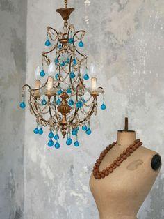 clear & blue chandelier