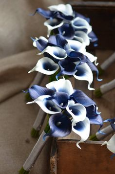 Navy Blue Picasso Calla Lilies Bridesmaids Bouquets Real Touch Flowers - **One item contains one bridesmaid bouquet. *** This elegant bouquets are created with real touch n - Lilly Bouquet Wedding, Calla Lily Bridesmaid Bouquet, Cascading Bridal Bouquets, Lily Wedding, Blue Wedding Flowers, Blue Bouquet, Wedding Bridesmaids, Non Flower Bouquets, Navy Blue Wedding Theme