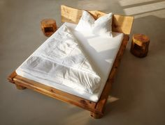 Double beds | Beds and bedroom furniture | Oak timber beam bed. Check it out on Architonic