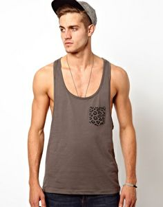 ASOS Vest With Leopard Print Pocket  Things id like for my b day... hint hint hint
