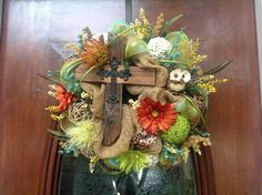 Small Rugged Cross Burlap and Mesh Wreath by HertasWreaths on Etsy