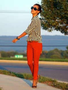 red pants and stripes