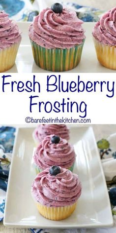 Fresh Blueberry Frosting is a light and creamy frosting, whipped into fluffy blueberry loveliness. A dollop of this frosting is sweet heaven on a cupcake. On a spoon, on a cracker, or on an actual cake this blueberry buttercream frosting is irresistible. Bounty Torte, Mini Cakes, Cupcake Cakes, Muffin Cupcake, Cupcake Icing Recipes, Healthy Frosting Recipes, Cupcake Creme, Blueberry Frosting, Blueberry Cupcakes