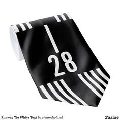 Aviation Runway Tie Changeable White Text Numbers more fun gifts for pilots and aviation lovers at http://www.zazzle.com/clearedtoland