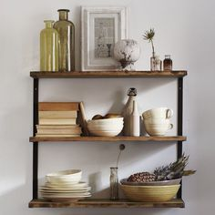 L-Beam Wall Shelf | west elm ... inspiration for DIY shelves in kitchen