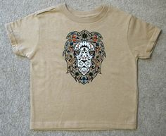 Toddler T  Sugar Skull Style LION Khaki Shirt by HappyGoatDesigns