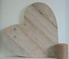 Hart steigerhout groot (L) naturel verticaal