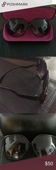 DVF SUNGLASSES Tortoise shell rims. Gently worn black leather case with DVF inscribed. Pink felt inside. Diane von Furstenberg Accessories Sunglasses