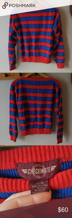 """Vintage 80s Spider Man Sweater size medium M This true vintage 1980s knit sweater is striped with wide red and blue stripes separated by knit black lines. Brand: Checkmate size: Medium. Material 100% conjugated acrylic. Easy care machine wash dry. Long sleeves. The material is medium weight and has a springy feel with a bit of stretch. It is in like new condition with almost no signs of wear, a bit wrinkled from storage. From a smoke free home:) Bust: 35"""" length: 19""""  POSHC8588SPI888 Vintage…"""