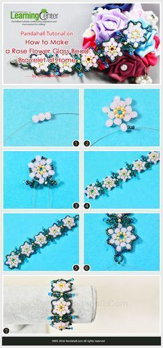 Tutorial on How to Make a Rose Flower Glass Bead Bracelet at Home from LC.Pandahall.com   #pandahall