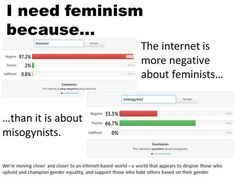 """""""I need feminism because the internet is more negative about feminists than it is about misogynists.""""  """"We're moving closer and closer to an internet-based world —a world that appears to despise those who uphold and champion gender equality, and support those who hate others based on their gender.""""  (See: http://www.whatdoestheinternetthink.net/feminist and http://www.whatdoestheinternetthink.net/misogynist )"""