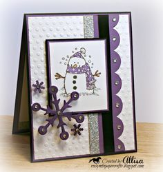 Rocky Mountain Paper Crafts: Purple Flakey Friends Christmas card by fay Black Christmas, Merry Christmas Card, Xmas Cards, Holiday Cards, Christmas Tables, Coastal Christmas, Christmas Snowman, Handmade Christmas, Christmas Crafts