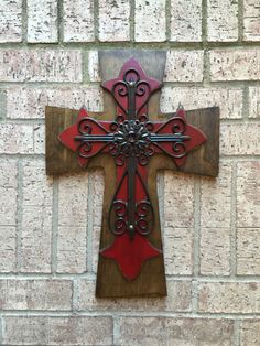 A personal favorite from my Etsy shop https://www.etsy.com/listing/180553070/large-antiqued-red-wall-wood-wall-cross