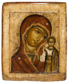Mother of God of Kazan  -    Russian, mid 17th century  27.5 x 22.8 cms