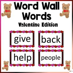 Word Wall Words Valentine ThemeThese word wall word cards Valentine theme in this 200-page packet will add a fun and bright focus in your classroom during the fall season. The download contains the first 200 words from Fry's high-frequency list.Check out our other Word Wall Words. Click below.Word W...