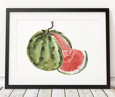 Kitchen print Watermelon art Food poster by DeerAndBadgers on Etsy