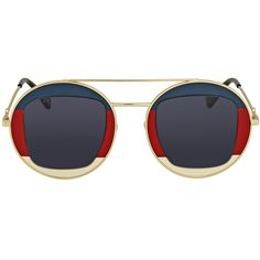Gucci Round Gold Sunglasses (1.550 DKK) ❤ liked on Polyvore featuring jewelry, gold jewellery, blue jewellery, blue jewelry, gold jewelry and gucci jewelry