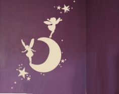 Fairy moon and stars wall decals stickers for a baby girl nursery or big girl room
