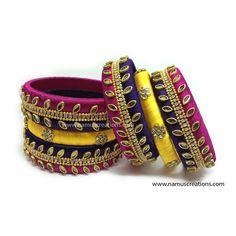 Pink Yellow And Violet Combination Silk Thread Kundan Bangles