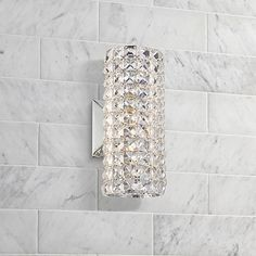 """Crystal Cylinder 10 1/4"""" High Wall Sconce"""