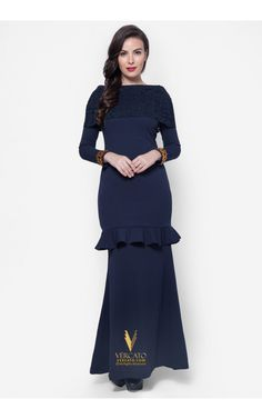 Baju Kurung Moden Lace - Vercato Amelia in Navy Blue
