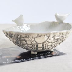 Love Birds bowl ceramic sculptural serving bowl wedding decor in gray