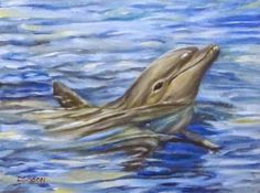 """""""Playful Dolphin"""" Oil on canvas 9"""" x 12"""". I've never painted a dolphin and I thought that this was definitely the time of year to think about them in a beautiful ocean and a warm climate.  This spirited one is loving his life and having fun!"""
