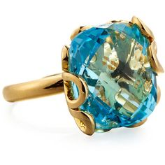 Miseno Sea Leaf 18K Gold & Blue Topaz Ring (25820 MAD) ❤ liked on Polyvore featuring jewelry, rings, gold jewellery, band rings, gold jewelry, yellow gold rings and gold leaf jewelry