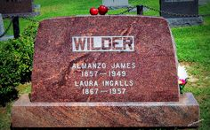 The gravesite of Laura Ingalls Wilder  and Almanzo Wilder in the  Mansfield Cemetery in Mansfield, MO